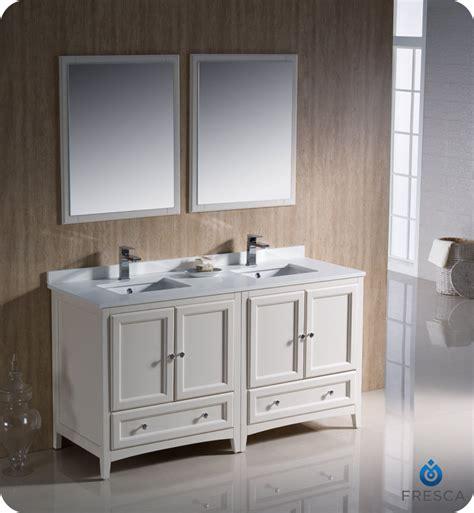 fresca oxford 60 quot sink bathroom vanity antique two