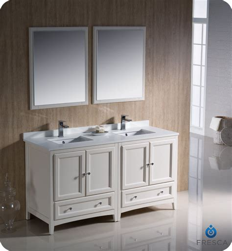 "60"" Fresca Oxford (fvn203030aw) Traditional Double Sink"