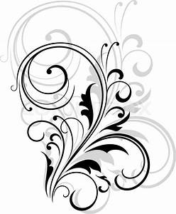 Simple black and white swirling floral element with a ...