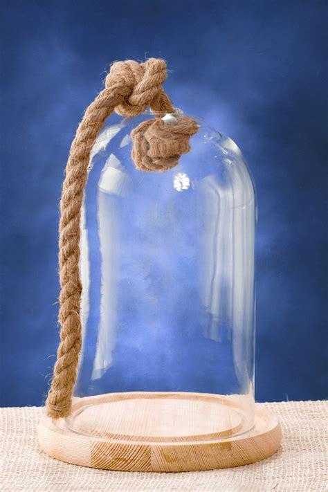 nautical glass bell jar  wood base rope