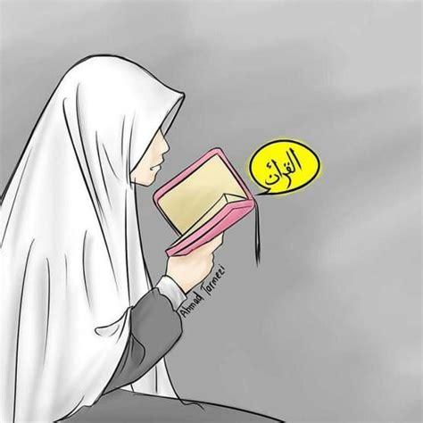 gambar kartun muslimah mengaji kartun gambar sketsa