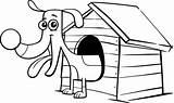 Dog Doghouse Cartoon Coloring Clip Coloriage Sort Maison Sa Teckel Illustrations Hondenhok Animal Farmer Comic Kleurplaat Pagina Searches Pet sketch template