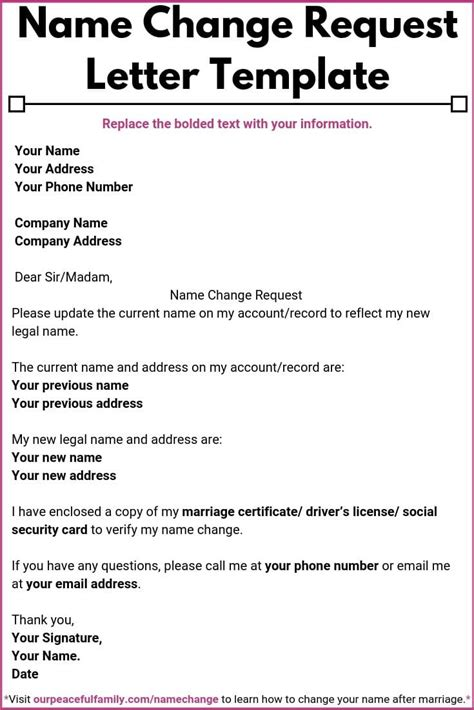 Start your card replacement application now. Letter for Change of Name After Marriage Template (Printable Included)