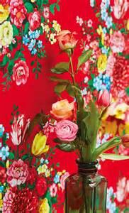 Papier Peint Esprit Boheme by Papier Peint Rouge Vif 224 Larges Bouquets De Fleur Boh 234 Me