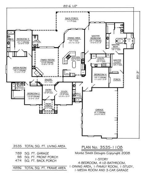 kitchen design blueprints house plans with media room homes floor plans 1108