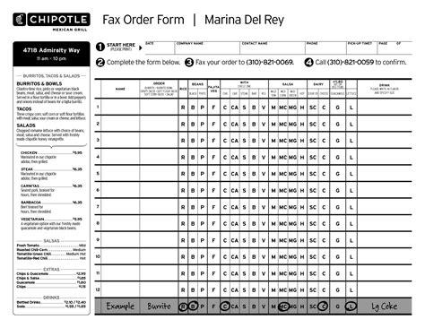 Chipotle Menu Order Form Papel Pintado