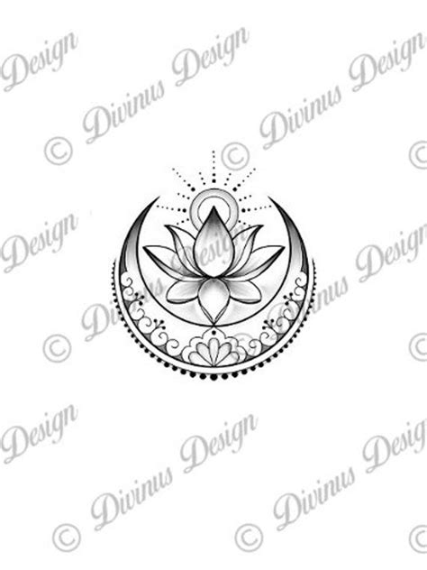Lotus with Sun and Moon tattoo design and Stencil - Instant Digital Download | Moon tattoo