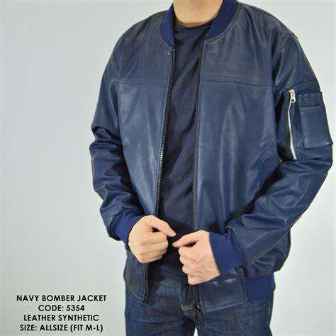 jual jaket cowok jaket kulit bomber motor navy model