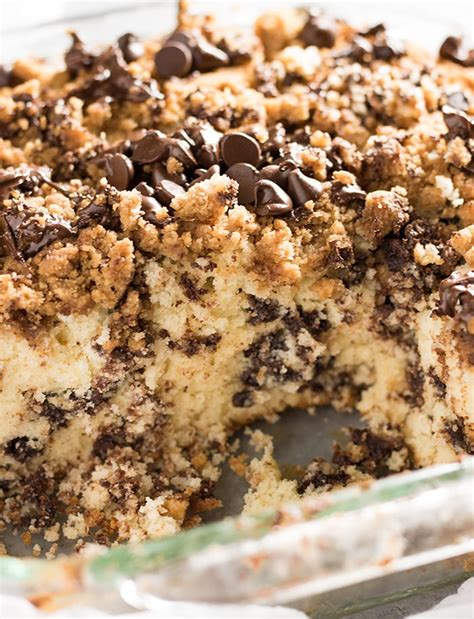 Mix tlast three ingredients together to make topping. Chocolate Chip Coffee Cake - The Salty Marshmallow