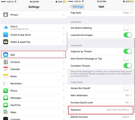 how to change email on iphone how to change email s default signature sent from my
