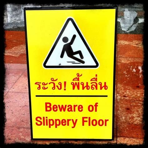Thai Signs Beware Of Slippery Floor  Richard Barrow In. Wall Sculpture Murals. Dream Stickers. Photo Cover Facebook Banners. Bus Stop Signs. Rear Lettering. Royal Car Stickers. Living Room Signs Of Stroke. Treatment Signs Of Stroke