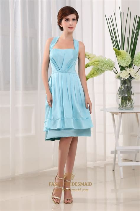 light blue dress light blue knee length prom dress halter knee length