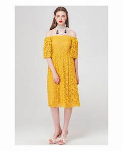 yellow off the shoulder lace knee length wedding guest With mid length wedding guest dresses