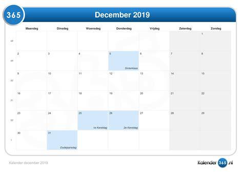 Jaarkalender En Maandkalender 2019 Met Weeknummers En Feestdagen