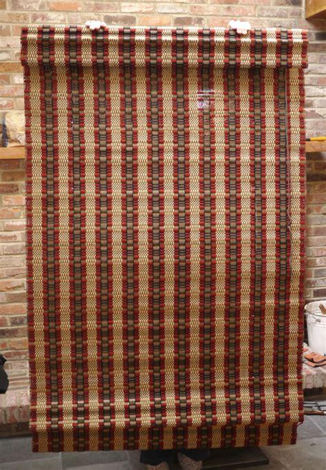 pair vintage mid century eames modern woven wool wood roll