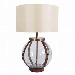 Glass table lamp with leather straps round imperial lighting for Designer glass floor lamp