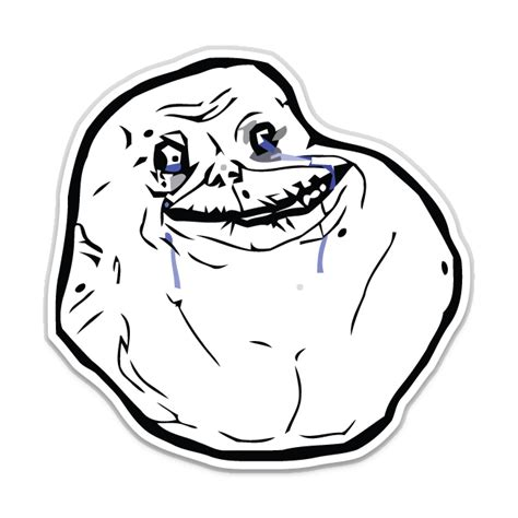 Forever Meme - forever alone meme shaped sticker unixstickers