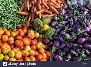 Indian vegetables at a rural village market, Andhra ...