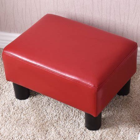 Small Ottoman by Costway Small Ottoman Footrest Pu Leather Footstool