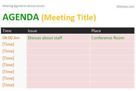 issue meeting agenda template dotxes