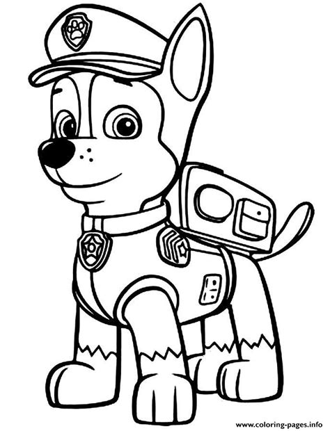 paw patrol chase police man coloring pages printable