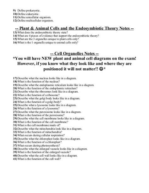 biology unit  cells exam