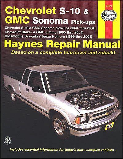 chilton car manuals free download 1996 isuzu hombre electronic valve timing chevy s10 sonoma blazer jimmy bravada repair manual 1994 2004