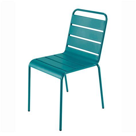 chaise en metal chaise de jardin en métal bleu canard batignolles