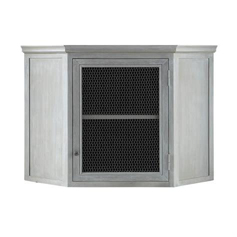meuble haut cuisine bois meuble haut d 39 angle de cuisine en bois d 39 acacia gris l 76