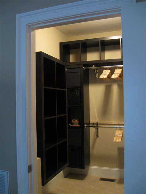 Interior Nice Small Walk In Closet With Folding Door And