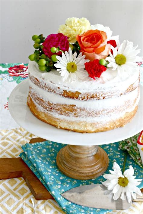 easy spring naked cake   boxed cake mix grocery