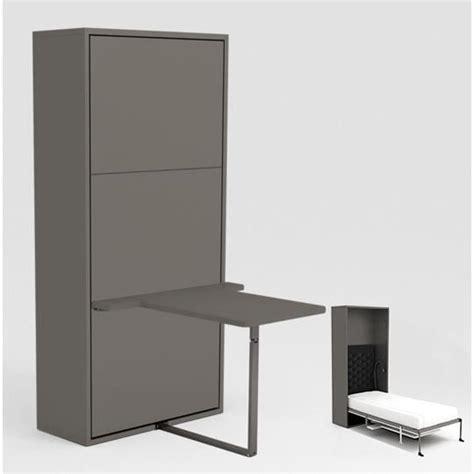 armoire lit escamotable 90x200 gris bureau achat vente lit escamotable pas cher