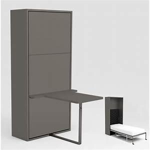 Lit Bureau Conforama : armoire lit escamotable stone 90x200 gris bureau achat vente lit escamotable pas cher ~ Teatrodelosmanantiales.com Idées de Décoration