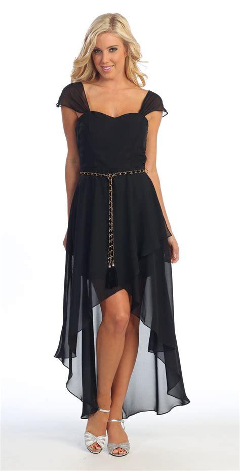 Cute High Low Black Semi Formal Dress Cap Sleeves ...