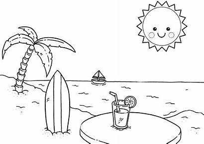 Coloring Pages Beach Summer Relaxing Sun Printable