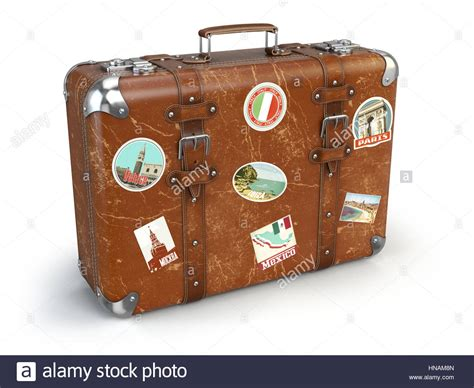 Retro Suitcase Baggage With Travel Stickers Isolated On
