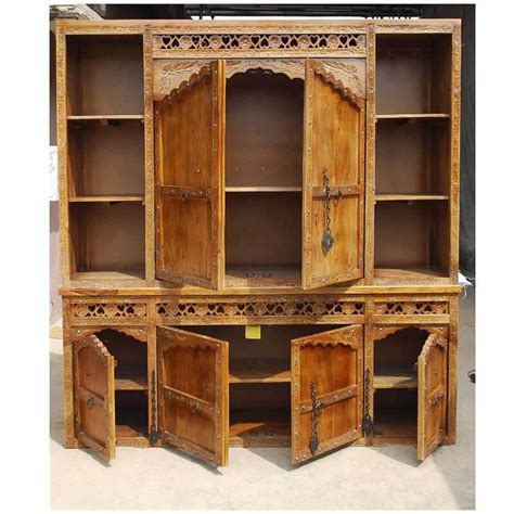 Solid Wood Hutch - fresno rustic solid wood carved large china hutch cabinet