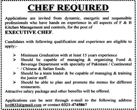 executive chef jobs  pakistan