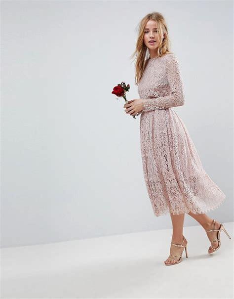 Asos Asos Design Bridesmaid Lace Long Sleeve Midi Prom Dress