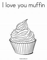 Coloring Muffin Cupcake Outline Template Pages Tracing Built California Usa Twistynoodle Print Whimsical sketch template