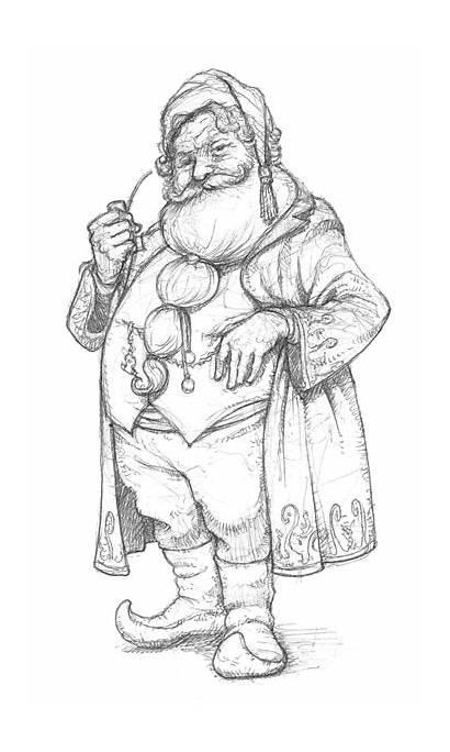 Santa Drawing Claus Christmas Coloring Pages Adults