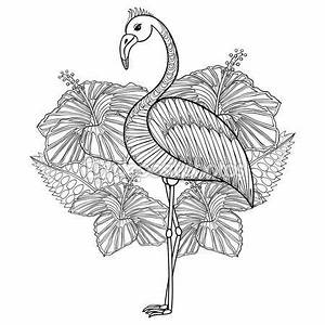 Coloring Page With Flamingo In Hibiskus Zentangle