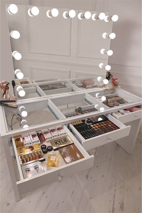see through makeup desk crisp white finish slaystation make up vanity with premium
