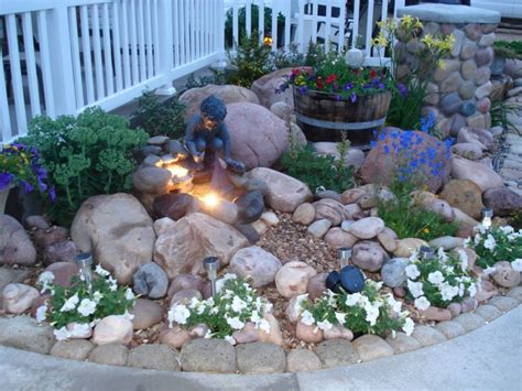 small rock gardens rock garden with small fountain hypertufa rocks made border the curved sidewalk the others are