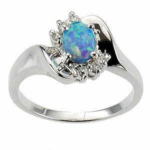 oval cut synthetic blue opal 925 sterling silver bridal With wedding rings opal