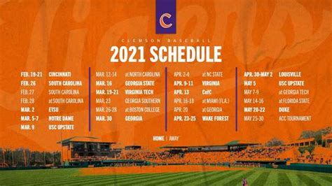 clemson baseball  schedule announced clemson sports news
