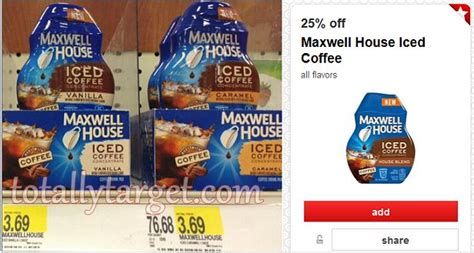 If you are thinking to yourself, i don't really like maxwell house coffee though well, i don't drink maxwell house coffee as a rule either. Target: Maxwell House Iced Coffee $1.77!!