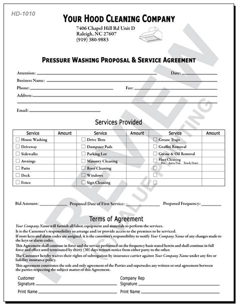 Power Bid Pressure Washing Contract Forms Awesome Carpet Invoice