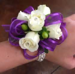 florist nc purple ribbon white wrist corsage corsages