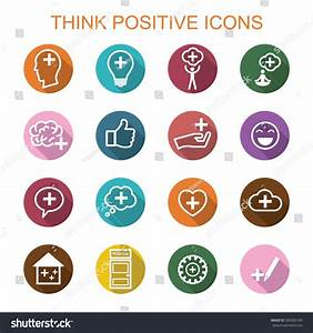 Think Positive Long Shadow Icons Flat Stock Vector ...